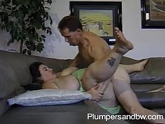 Have a blast watching this BBW brunette, with giant gazongas wearing a cute dress, while she gets fucked hard by a steamy guy and moans loudly.