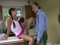Sabina is a beautiful brunette that likes not only young guys. Here she was one day with her bf's dad. She liked him from the moment she saw him, maybe because her bf is just like his old man or maybe because she's a slutty babe. Either way, Sabina spread her thighs in front of him with no problems and got licked!