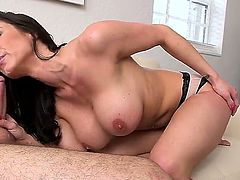 Smoking hot lusty milf Kendra Lust with gigantic tits and perfect body in panties only seduces handsome dude and sucks his big meaty sausage like crazy in point of view.