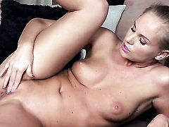 Barbie White displays her private parts before she masturbates