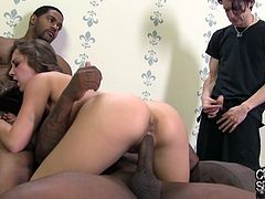 Sweet Remi LaCroix gets threesomed by Blacks in front of her BF