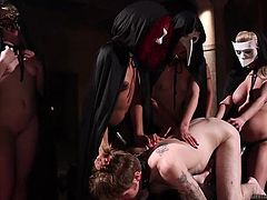 To get into this hidden society you have to open your asshole. The mistresses run their fingers all over their slave's back and the head mistress examines his butthole. It looks like it's ready to have a strapon inserted into it. How much plastic dick can he handle?