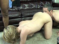 Take a nice look at this blonde babe, with a nice ass and big jugs, while she goes really hardcore with a dude in front of her cuckold.