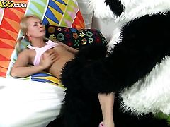 Blonde Amelie Pure is in heaven blowing guys rock hard love stick