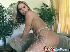 A blonde girl in fishnets gets her vagina licked and fingered. Then Mandy gives a blowjob with pleasure and get fucked on a sofa. This pretty chick also gets her face cum covered.
