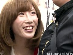 A Japanese salesgirl pleases on of her clients right in a shop. This cheerful Asian girl takes guy's dick out of his pants and gives him a handjob.