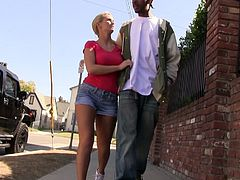 Emily Austin and Nikki Hunter are having interracial threesome sex indoors. They give a blowjob to a horny black dude and then ride his weiner by turns.