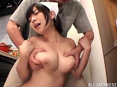 Get a hard dick watching this Asian doll, with titanic boobs and short hair, while she goes hardcore after cleaning the house. She's a nice lady!