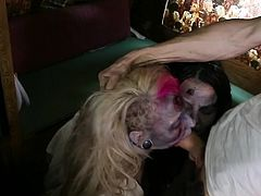 Enjoy two wild sluts sharing a tasty cock in raw threesome porn