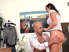 Fantastically hot black haired sex-bomb Cindy Dollar and her co-worker Neeo