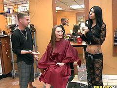 Well, what do we have here? It's a cute chick, that needs a new hair due and some cash! Our sexy presenter entered this hair salon and found her sitting on the chair. The lovely brunette asked Monica to get up and show us her boobs and ass. Then, after some more cash, she spread wide and the brunette ate her pussy