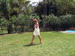 Beautiful young girl in white dress loves outdoor cocksucking, fucking, and anal