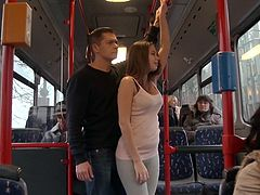 This sexy chick is wearing a pair of grey leggings that show off her sexy ass while she's taking a ride in the bus, Unbeknownst to her a creepy guy walks up behind her and rubs her ass, but she doesn't mind. While her tits are being shown a granny watches the action. It's time for her suck cock.