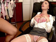 This gorgeous brunette bitch sucks on this dude's hard fuckin' dick and then takes it up her fuckin' snatch in this amazing scene right here!