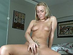 Gentle and sweet girlfriend named Melita plays with her pussy and masturbates