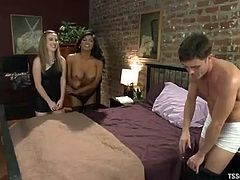 Lance and Jessie invite shemale Jessy to their place for a threesome. The shemale kisses the boyfriend while his girlfriend sucks him off. The tranny bends down and sucks on his dick as well. He continues to get his cock sucked and then the boyfriend and girlfriend take turns blowing the shemale.