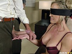 Brandi is getting ready for a nice evening with her husband. She takes a nice long shower and lets the water pour over her. When she is nice and refreshed she heads downstairs and her man blindfolds her. She gets his cock in her mouth and she still knows how to suck it even though she can't see.