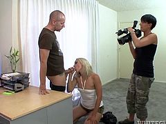 Watch Angel Long getting a mouthful of cum in this hardcore scene where this slutty blonde is fucked up her tight asshole.