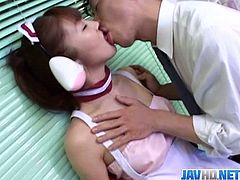 Japanese teen maid serves the house guest