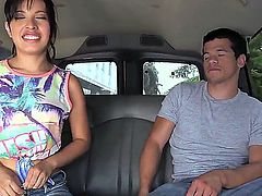 Sexy Latina cheerleader Jasmine Gomez takes off her jean shorts in the car