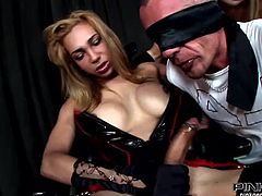 Everybody wants a taste of this shemale's big hard cock. She's having a dong in her panties! A blonde whore and a blindfolded guy approaches Adriana and they begins sucking her long, hard dick. Damn watch them sharing that penis and wrapping their lips around it. Which one will get the milk out of it?