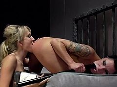 These sexy girls are lucky to be in the same prison cell. These lesbians fuck every single day. That is why it is not so bad for them to be in a prison. Alana and Katrina lick each others asses. They also toy asses with a police baton.