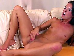 Stop here now to relax watching so cool porn with beautiful brunette babe. Take a glance at her becoming bare before starting to insert fingers into juicy pink loving hole.