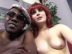 Redhead Sadie Kennedy takes off her clothes and give an interview with her nude partner. She touches her pussy while taking on camera.