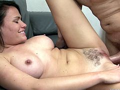 Check out this hardcore scene where the sexy brunette Ashli Ames is fucked by this guy after you take a look at her big tits while she sucks on his big cock.