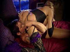 A curvy MILF sits on guy's face and sucks his huge cock