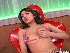AvIdolz presents you a steamy sex video starring Aya Fukunaga. She poses on cam flashing her boobs and showing that hot hairy pussy.Enjoy this sexy Japanese babe in this hot solo video.