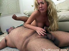Petite blonde girl comes up to a fat guy. She sucks his small dick. After some time the guy tries to fuck Hillary in her mouth. It is hard to do this with such a small dick. Hillary also gets her mouth filled with cum.