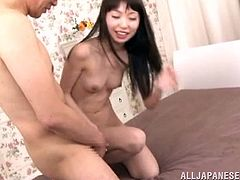 Prepare your cock for this Asian brunette, with small boobs and a shaved pussy, while she goes hardcore and moans like a naughty girl.