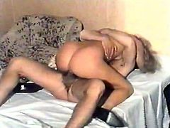 Filthy and kinky whore with light hair and good tits invites a man and gets drilled in mish pose then he finishes on her body. Watch in The Classic Porn xxx clip.