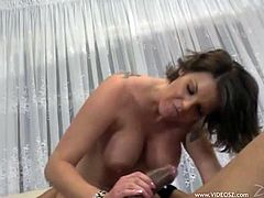 This dirty fuckin' whore sucks on a hard cock and then she takes it in her wet gash. Hit play and check it out right here!