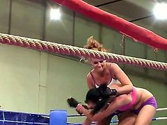 Hardcore fetish movie as Becky Stevens and Barbie Black fight it out in the ring. It is so sexy as these babes hit each other and their tight pants ride up their lovely firm asses.