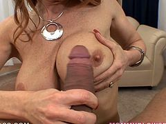 Boobalicious whore Janet Mason gives hot blowjob to her cocky lover