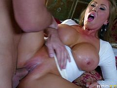 Kianna Dior is his girlfriends super sexy asian step-mom with big boobs and sexy clean pussy. He finds her sexy and pulls out his dick in front of exotic busty milf. She suck his rod and then he drills her twat.
