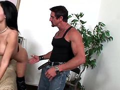 Make sure you see this! Watch a brunette MILF, with big fake jugs wearing leather boots, while she goes hardcore with a steamy guy.