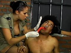 Check Lacey Duvalle, Gianna Michaels, Lea Moore, Kea Kulani and Tamra Toren mistreating a prisoner, spanking him and fucking him hard.