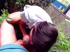 Like any experience pickuper Nelson knows for sure as soon naive girl who comes to a bus stop promises to teach her tits for cash is as good as fucked now. One thing leads to another and this naughty kitten quickly ends up giving a blow job behind the bushes and riding that big hard cock.