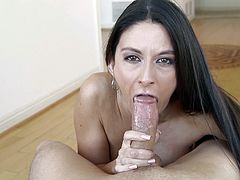 Take a nice look at this brunette chick, with born tits and a black thong, while she deepthroats a man's pipe and gets face fucked roughly.
