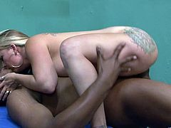 Get a load of this hardcore interracial scene where the busty blonde milf is fucked by a brother with a black monster cock.