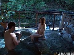 A sexy Asian babe in a sexy lingerie shows off her hot body inside a house. Then she gets fucked from behind in a Japanese outdoor bath.