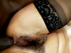Watch this hot interracial video in which you will see this horny black hunk with his big black monster cock fucking one sexy Asian babe tight ass.She screams loud while getting her tight ass screwed by him.