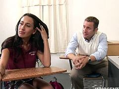 Babe Amia Moretti fucks at school