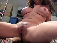 Curly and dark haired whorish sex pot with massive breasts please her hot pussy with big sex toys. Then got her mouth pounded by big natural one hard. Enjoy this salacious chick in My XXX Pass porn video!
