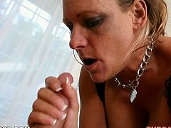 Boooty cougar Debi Diamond is professional in blowjob