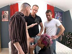 Have fun with this hardcore gangbang scene where this slutty mature is fucked silly by fellas until her pretty face's covered by semen.