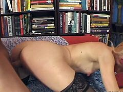 Cute and petite blond haired slut in lacy stockings gets her snatch pounded hard missionary and doggy style by her boyfriend's big cock.